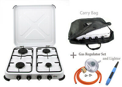 NJ-04 Portable Gas Stove Camping 4 Burners Hob Lid Outdoor LPG Cooker 5.45kW NEW