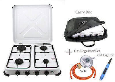 Portable Gas Stove Camping 4 Burners Hob Lid Outdoor LPG Cooker 5.45kW NJ-04