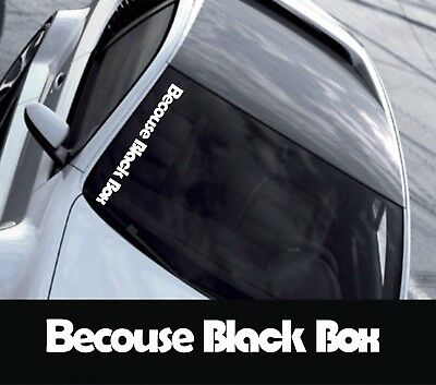 Large Size BECAUSE BLACK BOX Funny Novelty Car//Window Vinyl Sticker//Decal