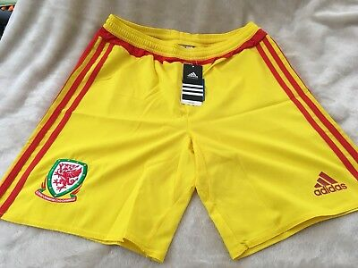 Brand New Adidas Wales 2015 Junior Away Yellow Shorts Size Xl Youth