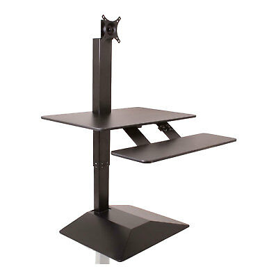 New Electric Sit Stand Height Adjustable Pc Desk Monitor Mount Riser Workstation