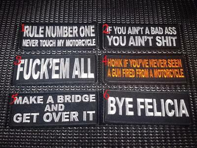 Biker Slogan Patch Funny Embroidered cloth Sew Iron on Rider Motorcycle vest cut