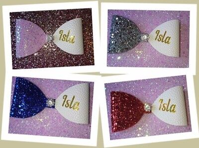 Personalised Glitter Hair Bow Girl Baby Headband Bobble Alligator Clip 4""