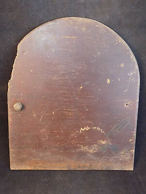 """VINTAGE SESSION EIGHT DAY CLOCK Wooden DOOR No 277 P w/ brass pull 8"""" T  6.75"""" W"""