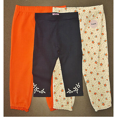 Baby Girls F&F 3 Bundle Leggings Navy, White Floral Print, Orange 9-12 months