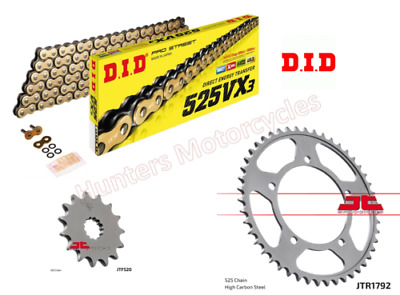 Suzuki GSR750  DID Heavy Duty Gold X-Ring Chain & JT Sprockets Kit 2011 to 2016