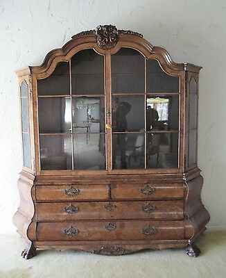 HUGE over 8' High CHINA CABINET 1800's DUTCH BOMBE curio DELIVERY AVAILABLE call