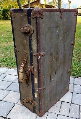 Vintage military vulcanized trunk suitcase army field case antique 28 x 17 x 9