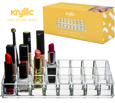 Lipstick Holder Display Stand Multi Level 24 Deep Slot Acrylic Makeup Organizer
