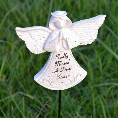 Sadly Missed Sister Guardian Angel Memorial Tribute Stick Graveside Plaque