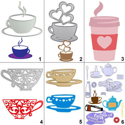 Tea Coffee Cup Metal Cutting Dies Stencil DIY Scrapbooking Album Card Embossing