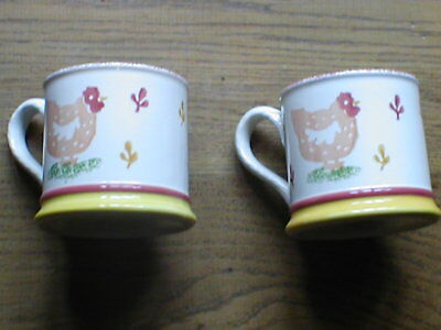 A PAIR of Laura Ashley MUGS theme  HENS.  Ideal Christmas present   PERFECT
