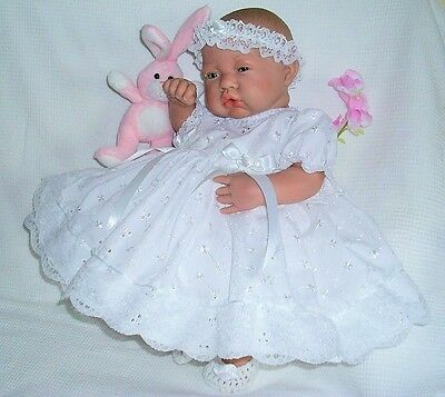 """White Frilly Dress Hbd Premature Baby 3-5 lbs 15-18"""" Reborn Doll 1874 Dolly Togs"""