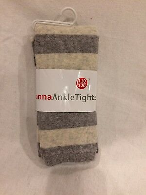 NWT Hanna Andersson Fun Footless Ankle Tights Heather Grey Oat 110 120 5 6 7