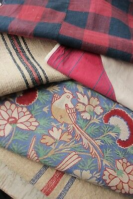 Vintage French fabrics antique material PROJECT BUNDLE homespun check hemp