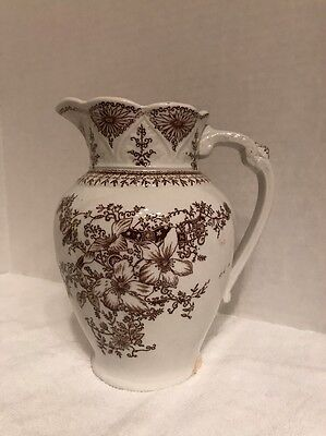 Stunning Brown Transferware Water Pitcher, Burslem England Ironstone