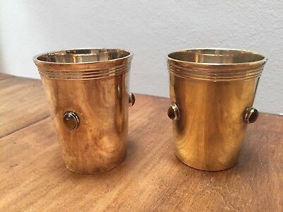 2 Antique Silver Plated Cups w/Tigers Eye Stones