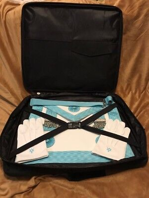 Full Set Of Master Mason Apron (Lambskin),Masonic Cotton Gloves And Shoulder Bag