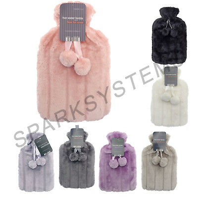 Hot Water Bottles with Luxury Faux Fur & Pom Poms
