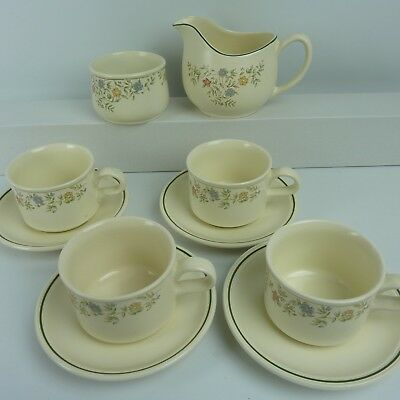 BHS Vintage Country Garland Tableware Teaset -Milk Jug Sugar 4 Cups + Saucers