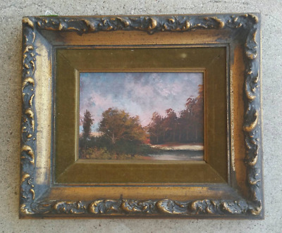 Beautiful Original 1800's Landscape Painting Art in Antique Carved Wood Frame