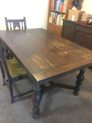 Handmade 1920's Table With Self Storing Leaves and Four Chairs and Buffet