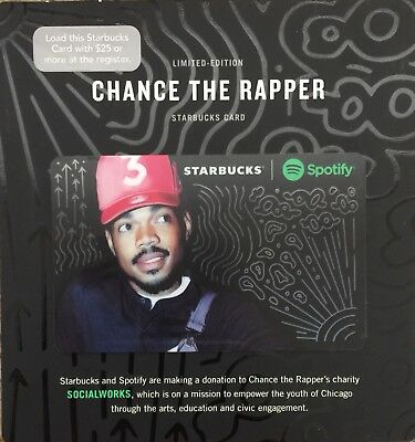 Starbucks Chance The Rapper Gift Card With Clear Protective Sleeve