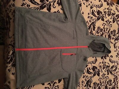 Free Country Men's Size XL  Marled Tech Fleece Jacket w/Hood Gray VERY NICE!