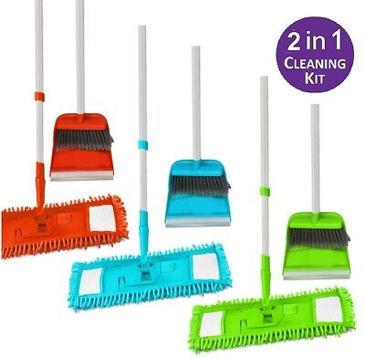 Long Handled Dustpan & brush Set with Extendable Flat Microfibre Mop Sweeper