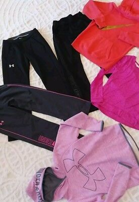 Large Lot GC! Girls Under Armour Nike Reebok Med pants&Lg hoodies, hardly used!