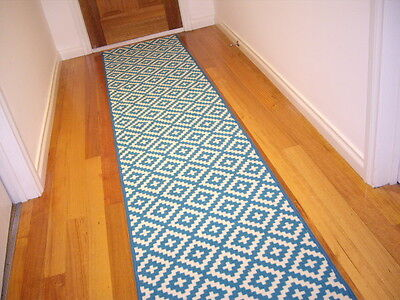 Hallway Runner Hall Runner Rug Modern Blue 370cm Long FREE DELIVERY 79543