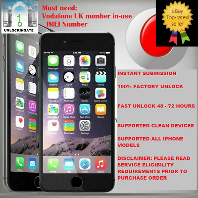 VODAFONE UNLOCKING SERVICE FOR iPhone 4 5 5S 5C SE 6 6S 7 8 X XS XR 11 Max Pro
