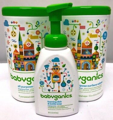2 Babyganics All Purpose Surface Wipes 75 Count ea. + Foaming Dish & Bottle Soap