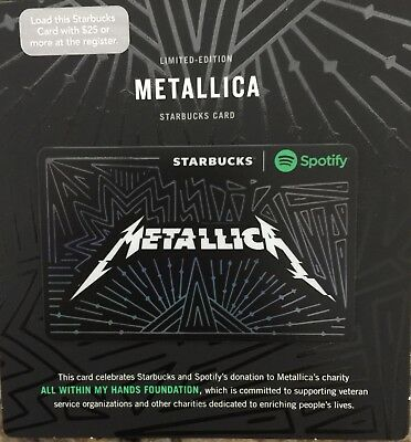 Starbucks Metallica Spotify Gift Card With Clear Protective Sleeve