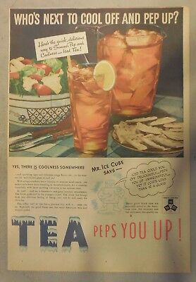 "Tea Ad: ""Tea Peps You Up! "" Ice Tea !  from 1930's-1940's 11 x 15 inches"