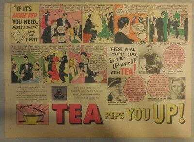 "Tea Ad: ""Tea Peps You Up! "" from 1930's-1940's 11 x 15 inches"