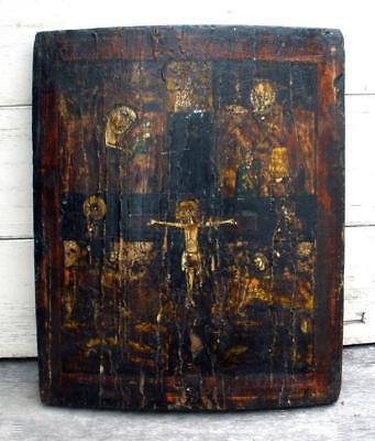 Antique Hand-Painted Greek/Russian Orthodox Byzantine Christ's Crucifixion Icon