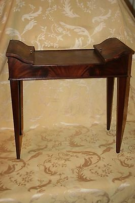 "Antique American Rare 20"" Tall Heritage Crotch Cut Inlaid Mahogany Sewing Table"