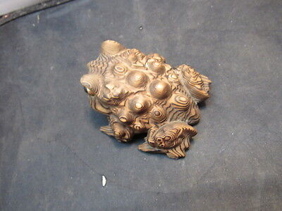 Vintage Japanese   Carved Wood Toad