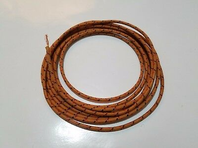 10 FEET VINTAGE Braided Cloth Covered Primary Wire 14 gauge 14g ...