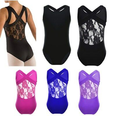 Girls Ballet Leotard Dancewear Kids Gymnastics Dance Dress Unitard Costume 6-12Y