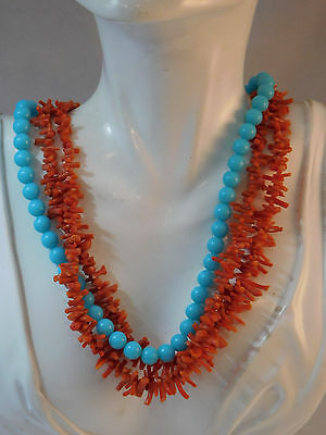 Vintage 50's Faux Branch Coral Turquoise Blue Bead Multi Strand Necklace 7h 84