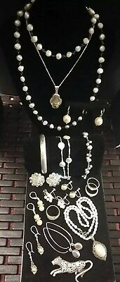 Sterling Silver Vintage Jewelry Pearls and Crystal Lot# 24