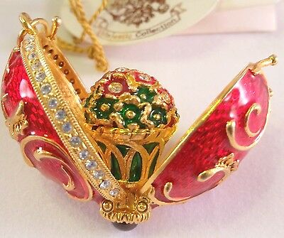 "33g HUGE 1.5"" Sterling Silver Russian Enamel Egg Pendant Locket GARNET Bouquet"