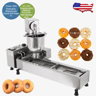 3 Sets Mold Commercial Automatic Wide Oil Tank Donut Maker Making Machine