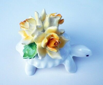 Raybur Staffordshire England Vintage Bone China Porcelain Turtle w/ Flowers