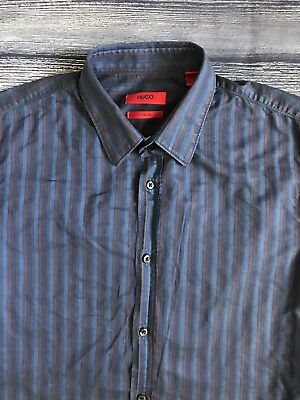 Hugo Boss Boy's Slim Fit Red Label Blue Striped Long Sleeve Button Down Shirt S