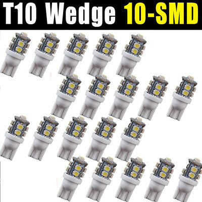 20x Pure White 10 SMD LED T10 194 921 W5W 1210 RV Landscaping Light Bulbs 12V