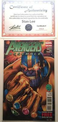 Avengers Assemble #7 Signed By Stan Lee & Mark Bagley W/coa Thanos Infinity War
