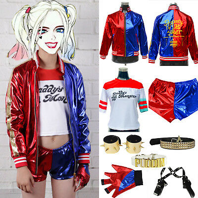 Womens Girls Harley Quinn Harlequin Suicide Squad Halloween Costume Top Coat Lot